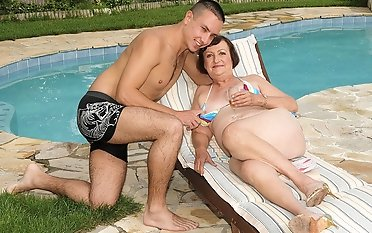 Bathing suit grandmother loves fuck-a-thon With Her junior paramour