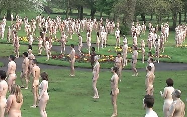 Brit naturist people in gang two
