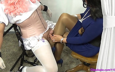 Sissy tights masturbating