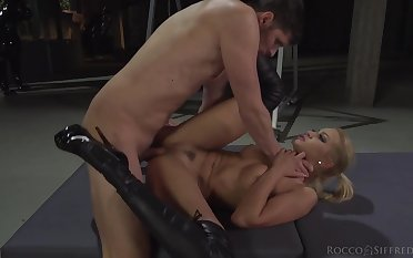Leather leggings on a dirty Euro anal harpy
