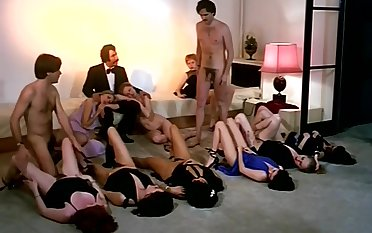 Output sex orgy performance with horny company of girls