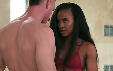 Ebony masseuse Demi Sutra gives a blowjob and nuru massage after interesting a shower