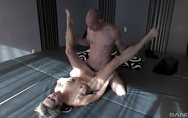 Julia Pink pleasures a fit hunk with her scruffy mouth with an increment of pussy