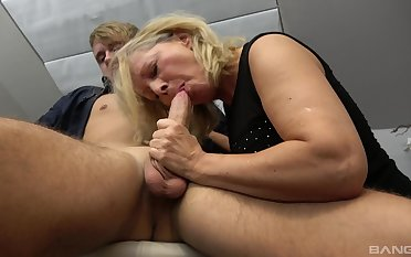 Fucking out of reach of the chair between a younger stud and experienced Mia