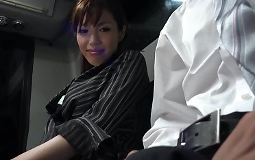Japanese lady is sucking a rock hard meat stick in along to train increased by getting fucked hard