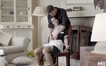Excellent home hardcore sex for the naughty maid