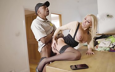 Interracial threesome in an obstacle kitchen with blonde Amber Jayne