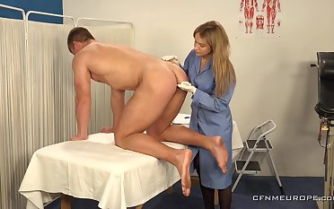 Hot young guy is fucked anally by female counselor debilitating strapon