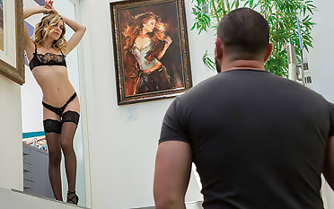 Aiden Ashley has neighbor come and fuck her presently her husband is too busy