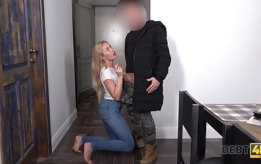 Mephitic blond babe gets her mouth and pussy fucked for debt