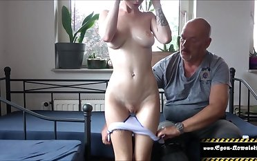Stepfather gives massage wide brunette