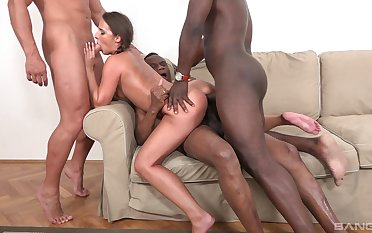 Young second-rate fucked by yoke black thugs