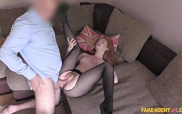 Young redhead Ella Hughes shines during hot casting fuck