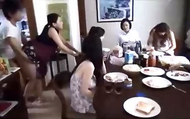 Insane asian stud is fucking his wife in front of his family, and enjoying it