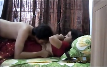 Indian couple having spunky sex in their bedroom